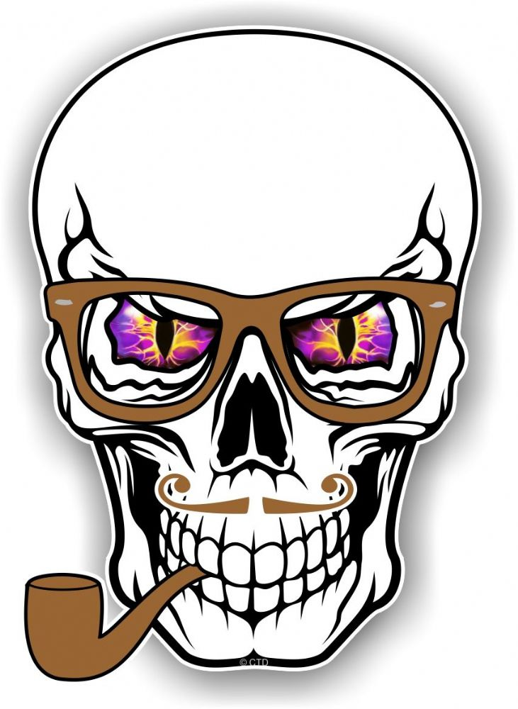 Gothic Hipster Skull With Purple Evil Eyes And Pipe
